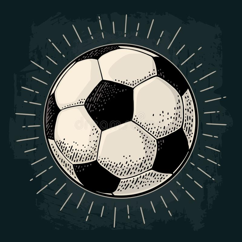 Soccer ball with ray. Engraving vintage vector black illustration. Soccer ball with ray. Engraving vintage vector color illustration. Isolated on dark royalty free illustration