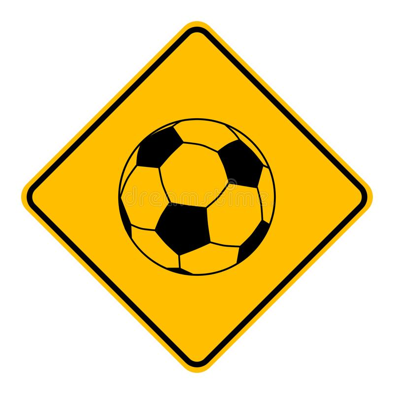 Soccer ball and road sign. As vector illustration stock illustration