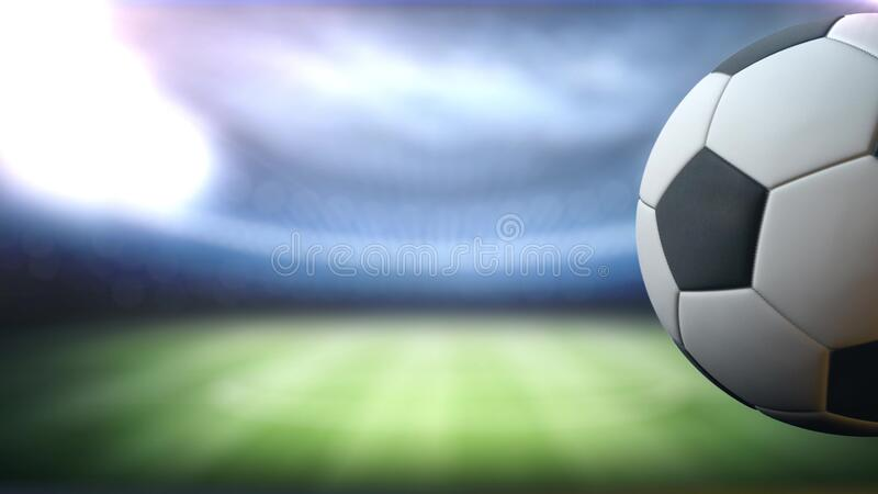 On The Stadium Abstract Football Or Soccer Backgrounds: Soccer Slow Motion Ball Flight Into Goal Net. 3d Rendering
