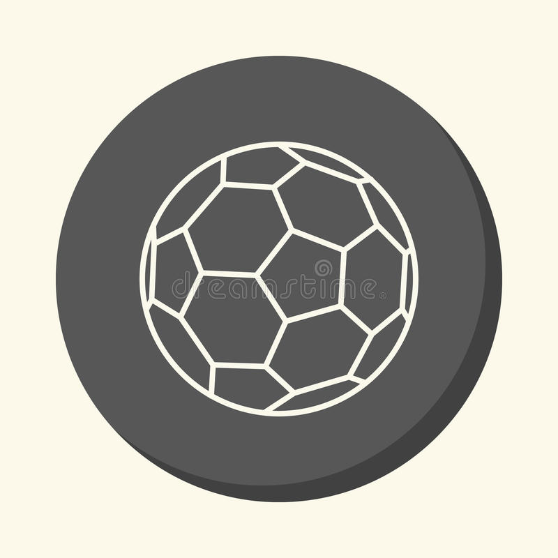 Soccer ball, round linear icon with an illusion of volume, an element for your school site or booklet. Soccer ball, round line icon with an illusion of volume royalty free illustration