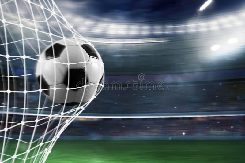 Soccer ball scores a goal on the net. Ball scores a goal on the net in a football match vector illustration