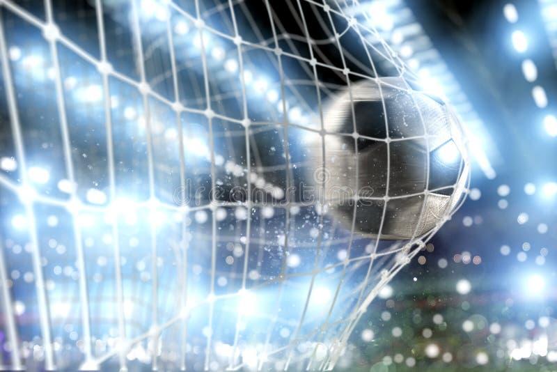 Soccer ball scores a goal on the net. Ball scores a goal on the net in a football match royalty free illustration