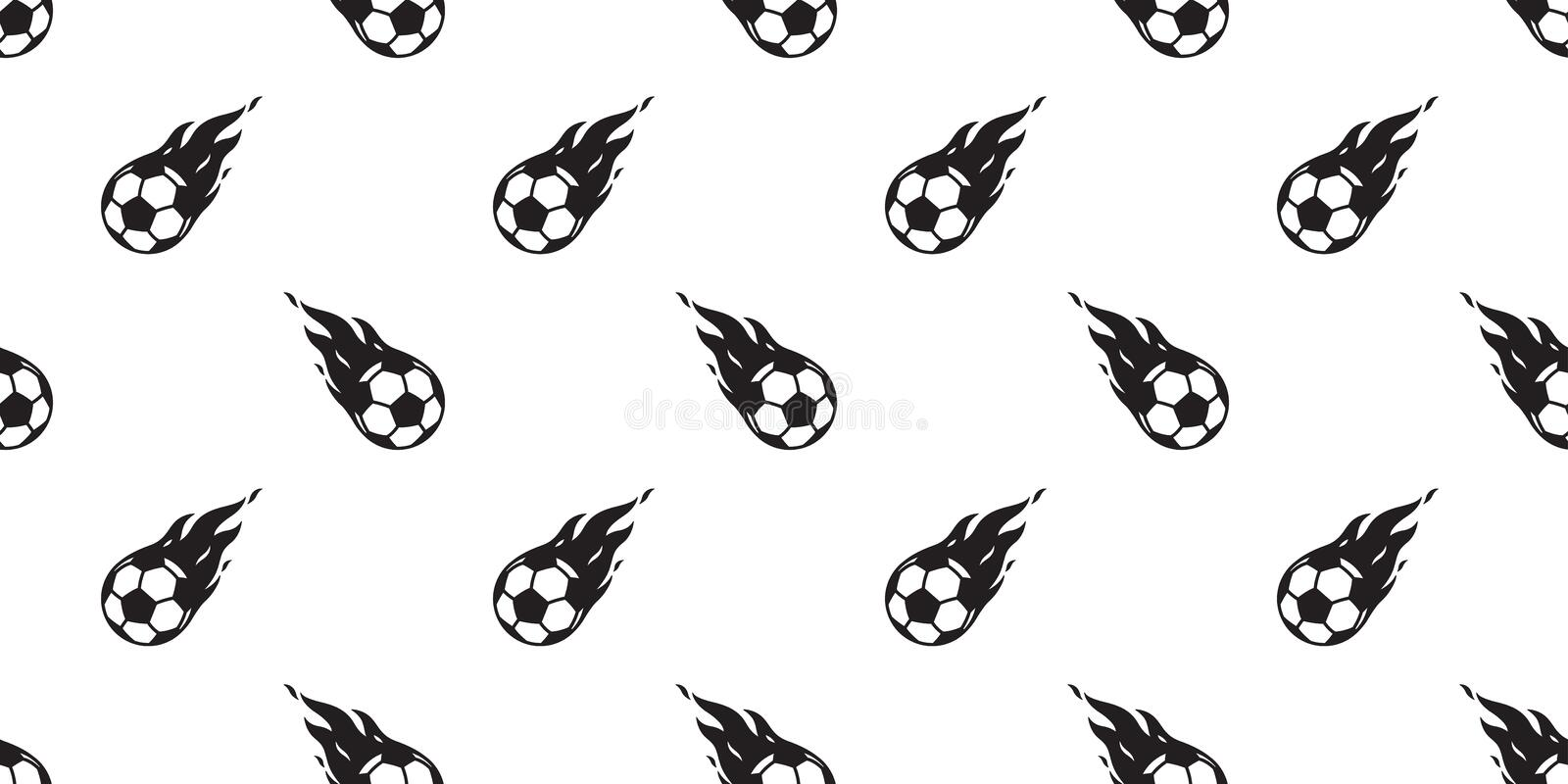 Soccer ball seamless pattern football vector fire tile background scarf isolated repeat wallpaper. Soccer ball seamless pattern football vector fire scarf vector illustration