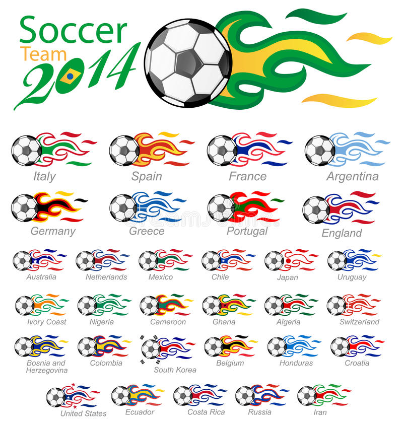 Soccer ball set with flag flame royalty free illustration