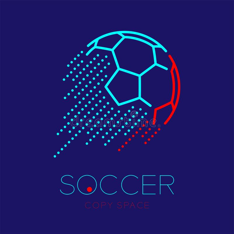 Soccer ball shooting logo icon outline stroke set dash line design illustration. Isolated on dark blue background with soccer text and copy space vector illustration