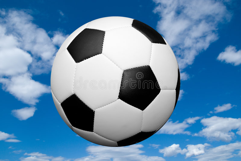 Soccer ball with sky royalty free stock photos