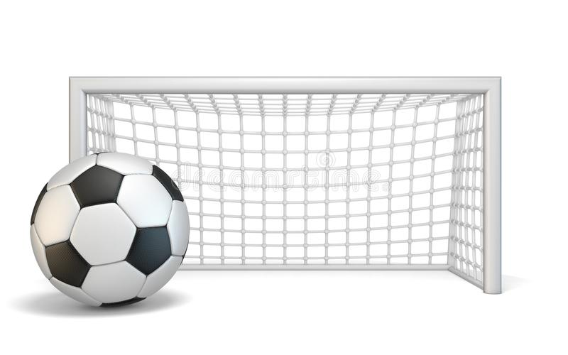 Soccer ball and soccer gate 3D. Rendering illustration isolated on white background royalty free illustration