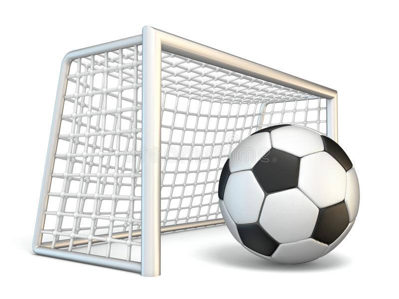Soccer ball and soccer gate side view 3D. Rendering illustration isolated on white background royalty free illustration