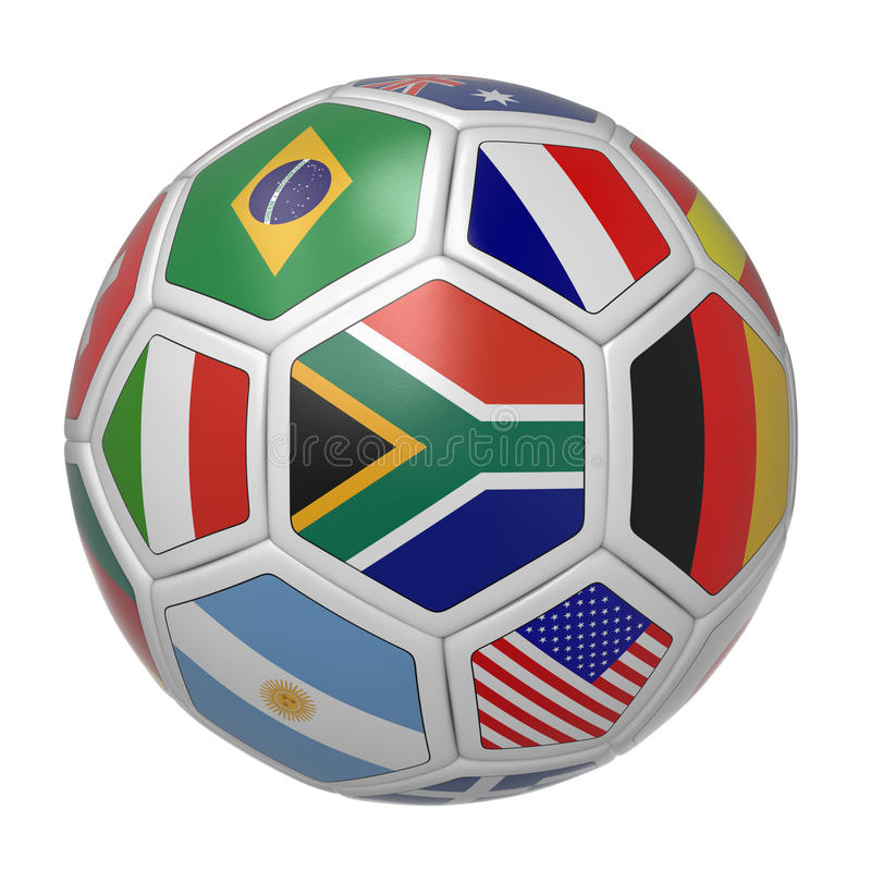 Soccer ball with South African flag in the front stock illustration