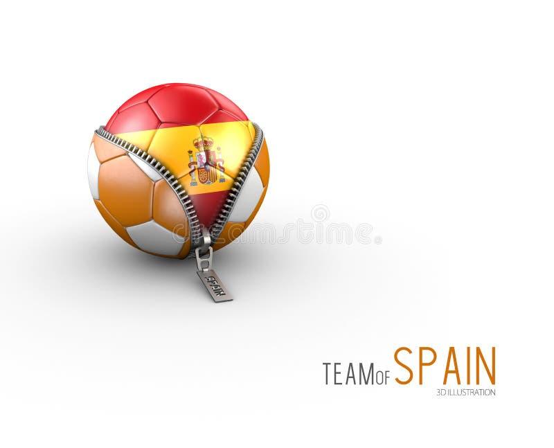 Soccer ball with Spain flag isolated on white background. 3d Illustration stock illustration
