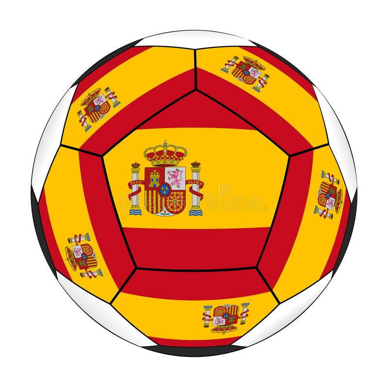 Soccer ball with Spanish flag. Isolated on white background vector illustration