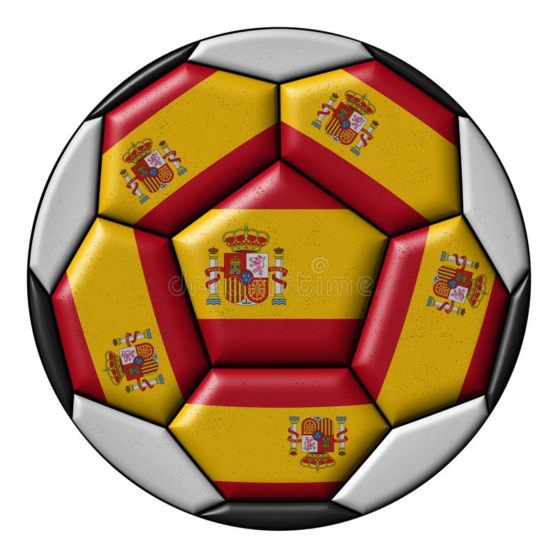 Soccer ball with Spanish flag. Isolated on white background royalty free illustration