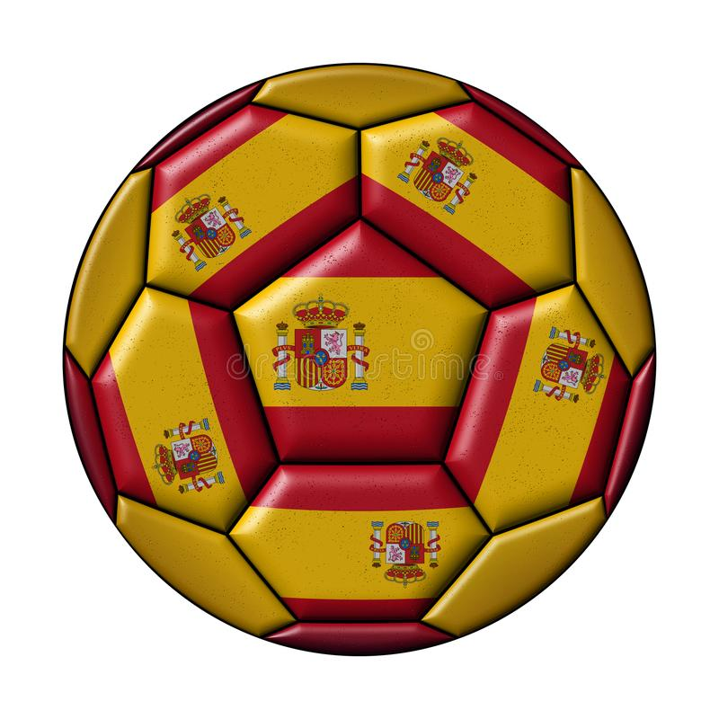 Soccer ball with Spanish flag. On white background vector illustration