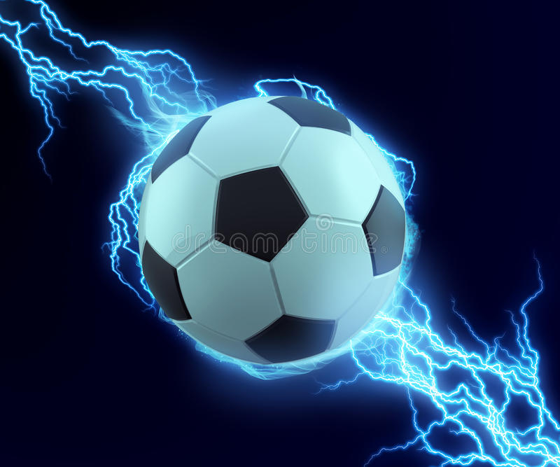 Soccer ball spark with blue thunder. Can be use in extreme sport title or technology related stock illustration