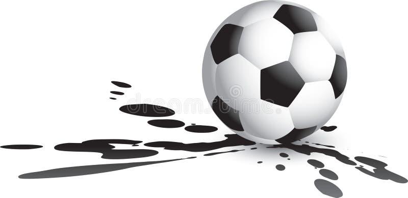 Soccer ball splat. Soccer ball sitting on splattered ground vector illustration
