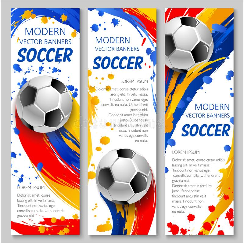 Soccer ball banner of football sport game template royalty free illustration