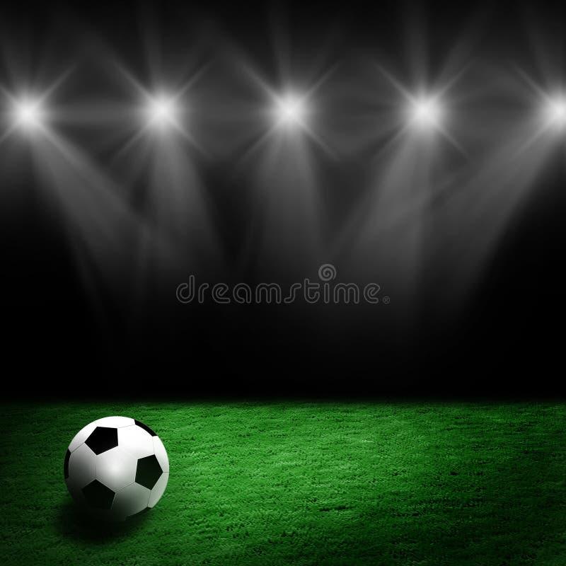Soccer ball on the stadium lawn royalty free illustration