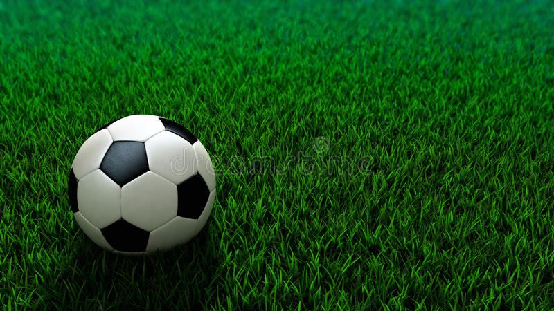 Soccer ball standing on grass field royalty free stock image