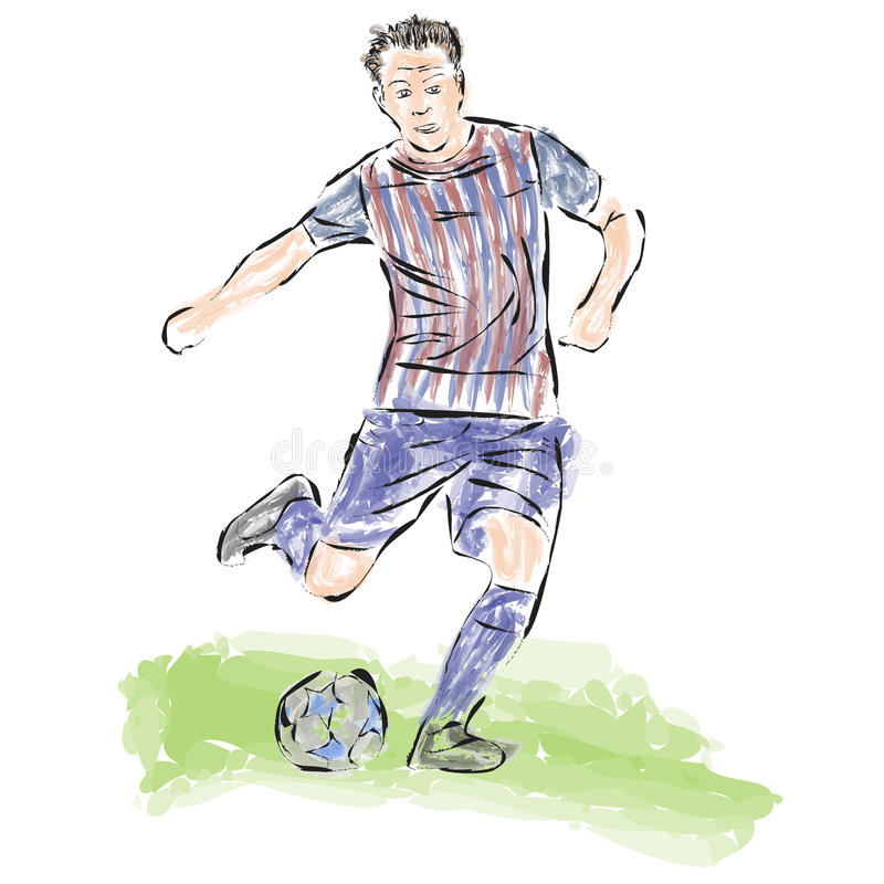 Soccer ball striker painted in the style of skech.Vector vector illustration