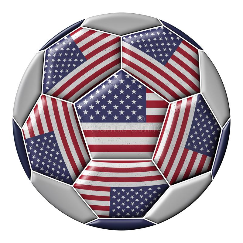 Soccer ball with United States flag. Isolated on white background vector illustration