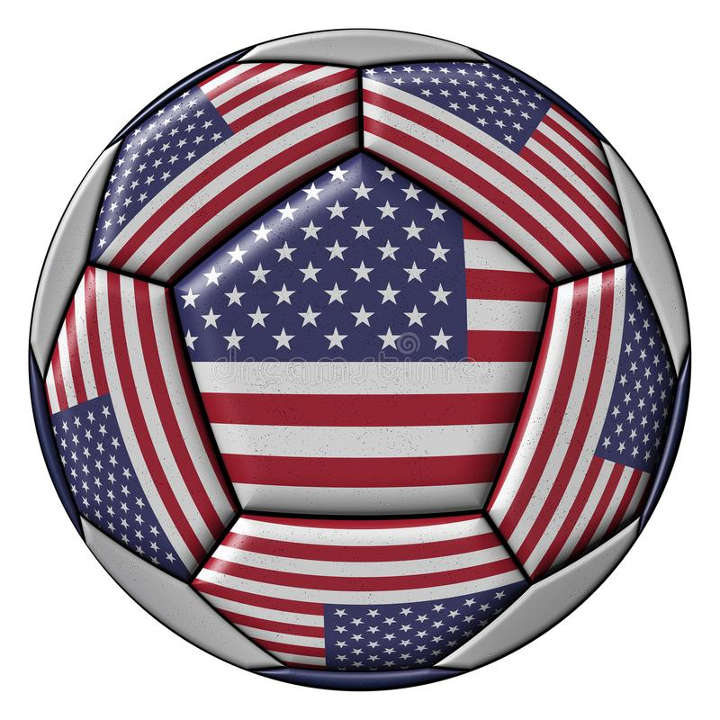 Soccer Ball with United States flag. Isolated on white background stock illustration