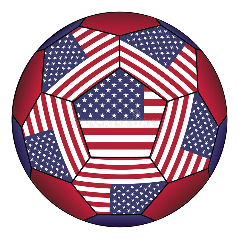Soccer ball with United States flag. Isolated on white background royalty free illustration