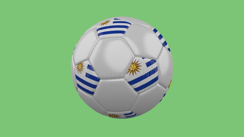 Soccer ball with the Uruguay flag isolate on a green background, 3D rendering. stock illustration
