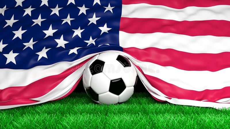 Soccer ball with Usa flag on football field stock illustration