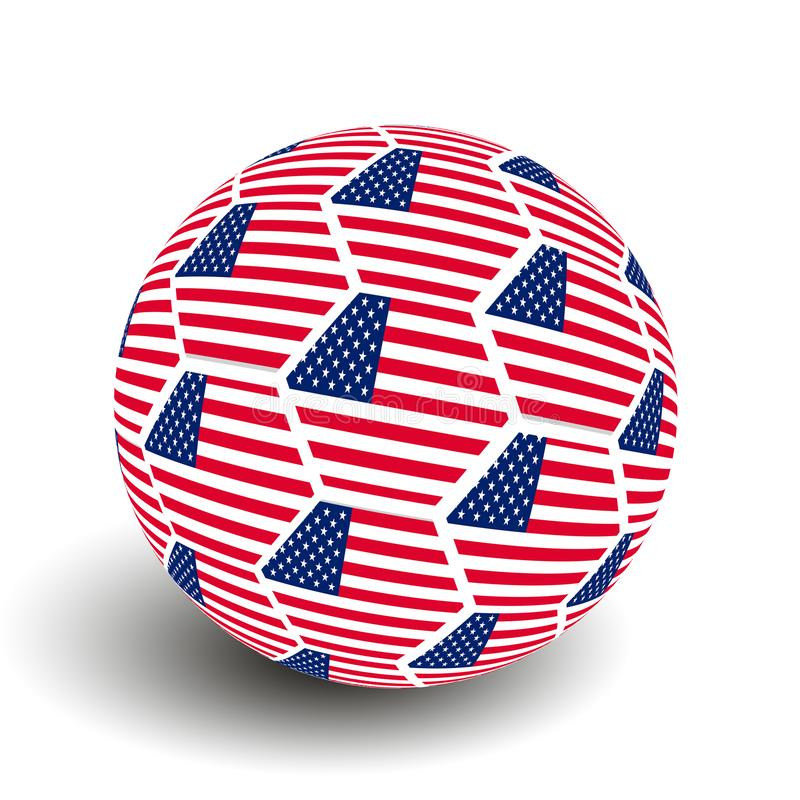 Soccer Ball with USA Flag. On white background royalty free stock photography