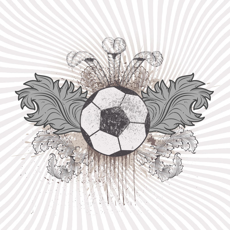 Soccer ball. Vector illustration of a soccer ball in neutral colours. Rays come out of it and it has flourishes, wings and ink spatters, all in vintage style vector illustration