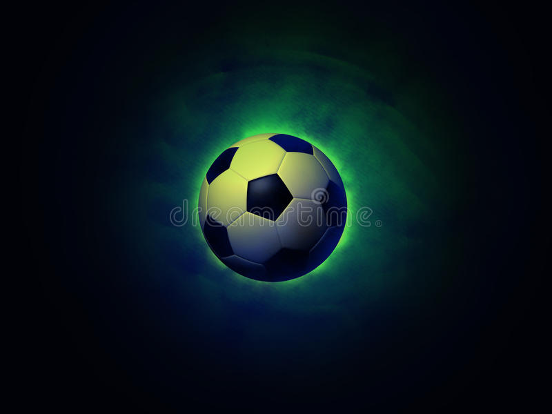 Soccer ball vigorously green background stock image