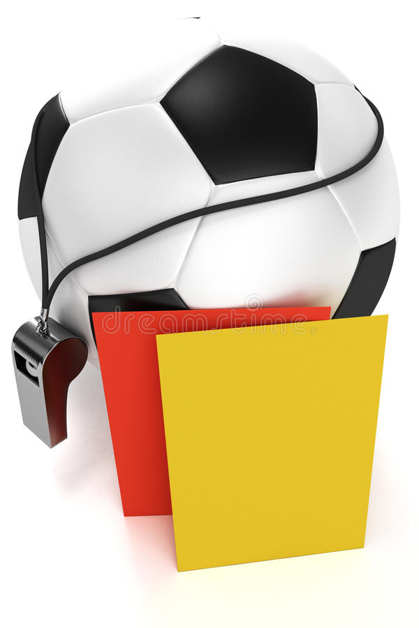 Download Soccer Ball, Whistle And Red And Yellow Cards Stock Photos - Image: 14042063