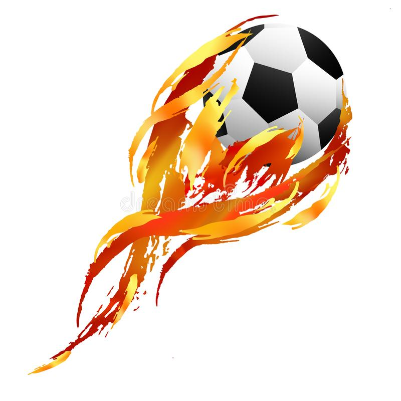 Free Soccer Ball With Tail Of Orange, Red And Yellow Paint Smears Stock Photos - 115734643