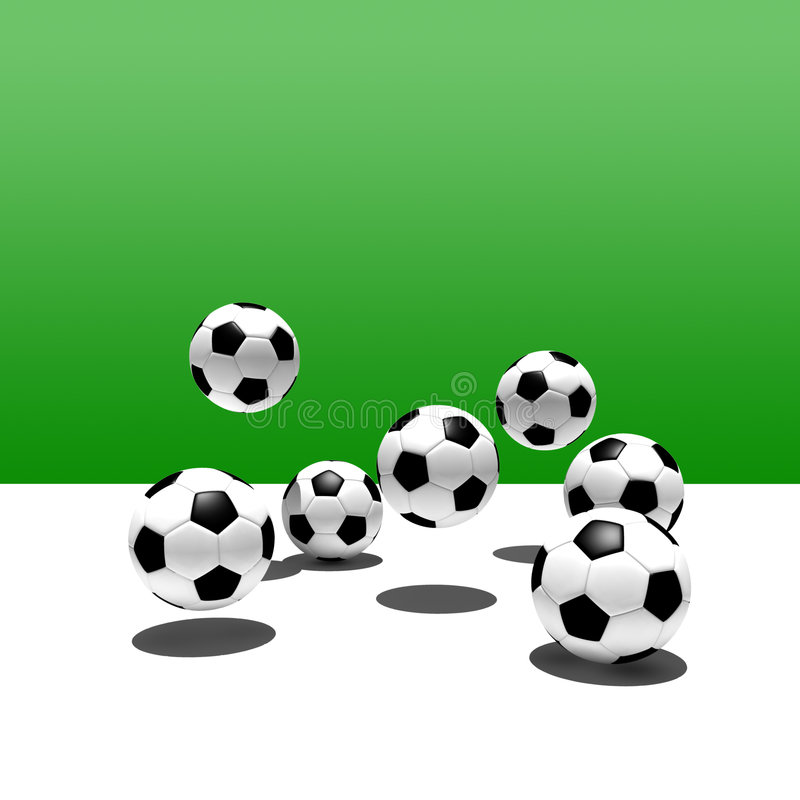 Soccer balls in the air stock photo