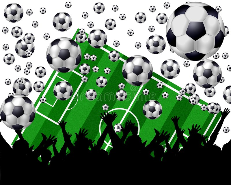 Download Soccer Balls, Field And Fans Stock Illustration - Image: 5206505