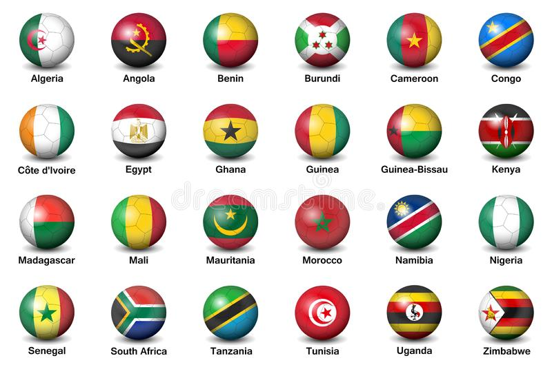 Soccer balls flags countries final tournament 2019 Africa Cup football royalty free illustration