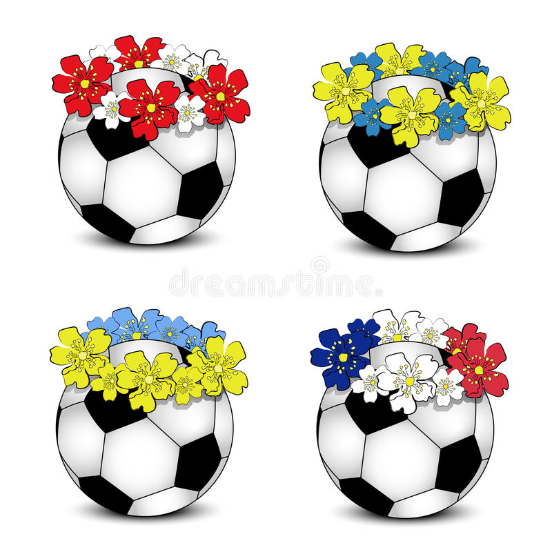 Download Soccer Balls With Floral National Flags Stock Vector - Image: 25206601