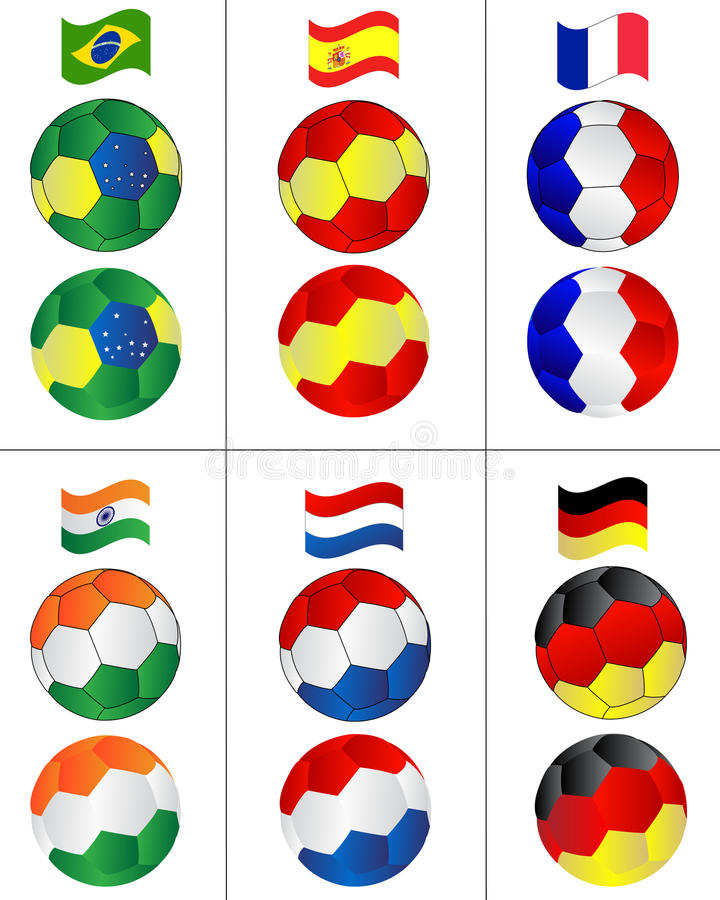Soccer balls with flying flags royalty free illustration