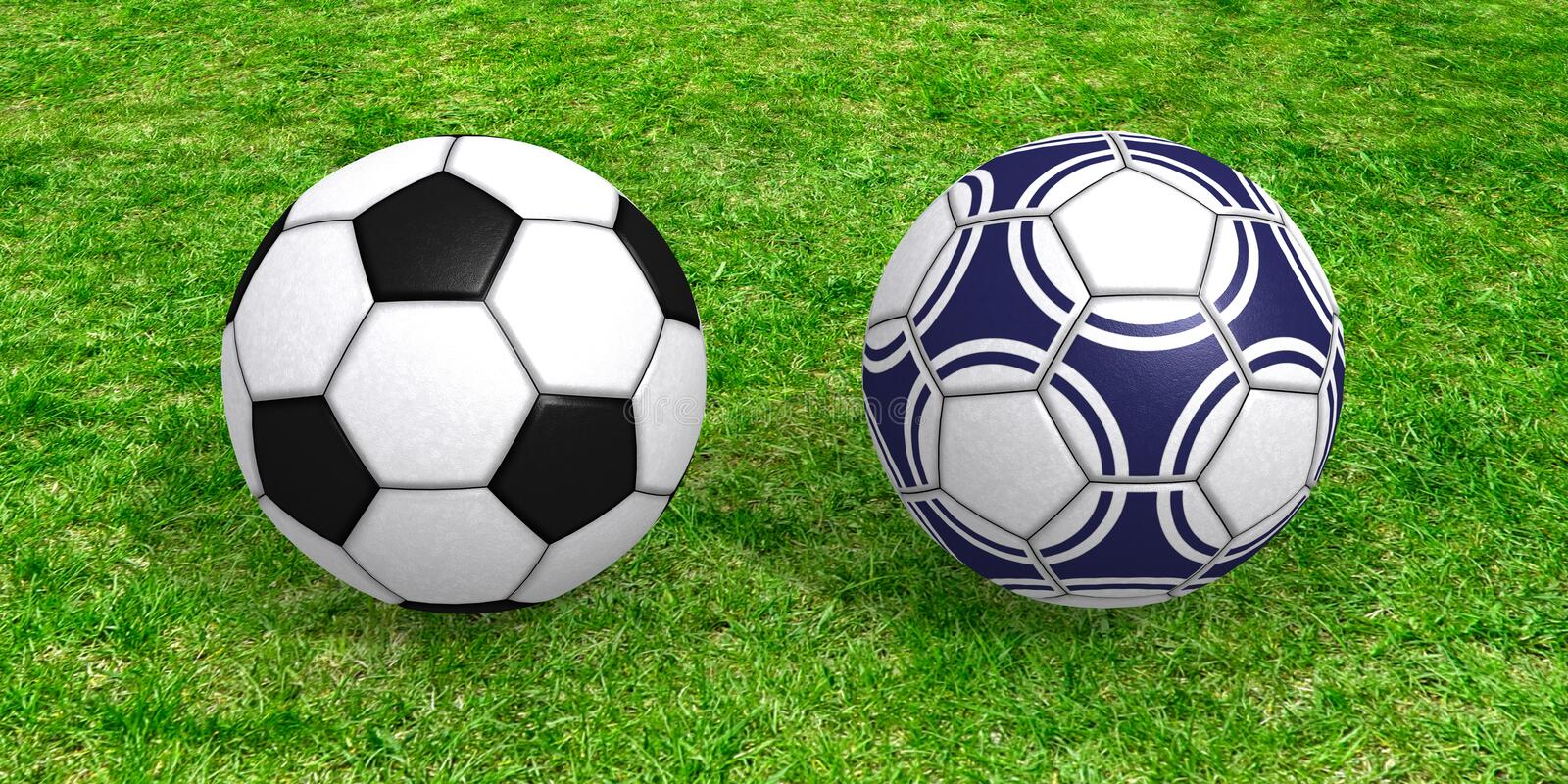 Soccer balls on grass stock images