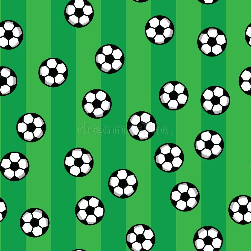 Soccer balls on green lawn of football field. Football pattern, soccer balls and green field. Seamless pattern royalty free illustration