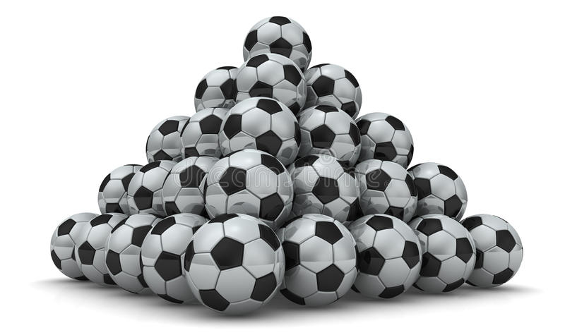 Soccer balls piled in form of pyramid. On a white surface. Isolated. 3D illustration royalty free illustration