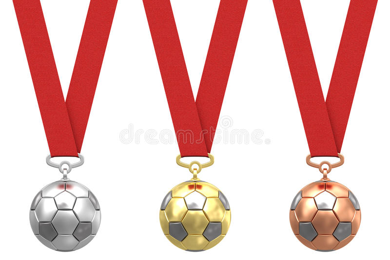 Soccer balls with red ribbons stock photos