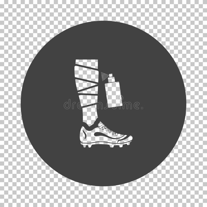 Soccer bandaged leg with aerosol anesthetic icon. Subtract stencil design on tranparency grid. Vector illustration royalty free illustration