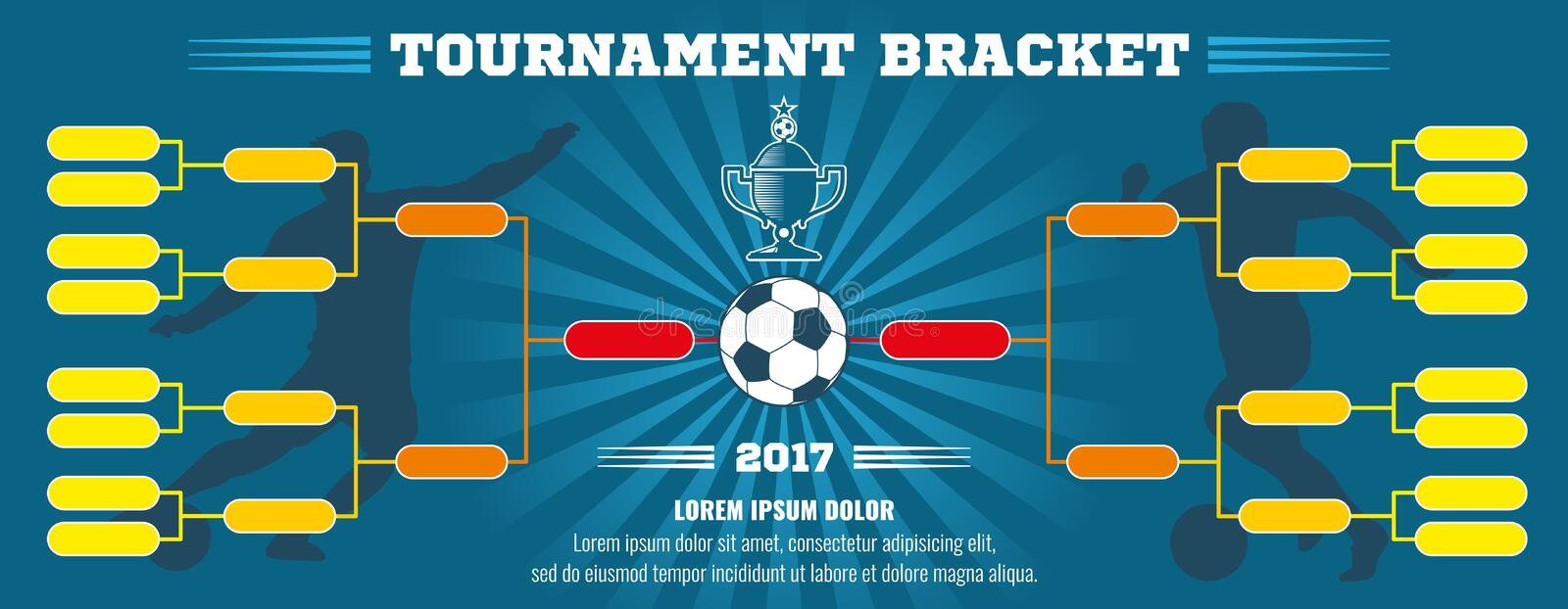 Soccer banner, European football tournament bracket with ball. Vector template vector illustration