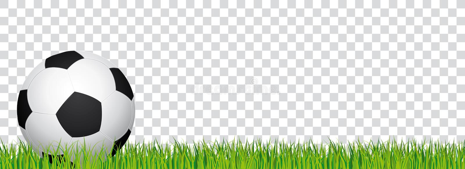 Soccer banner. Football stadium grass and transparent background. Header with soccer ball on the left side. vector illustration