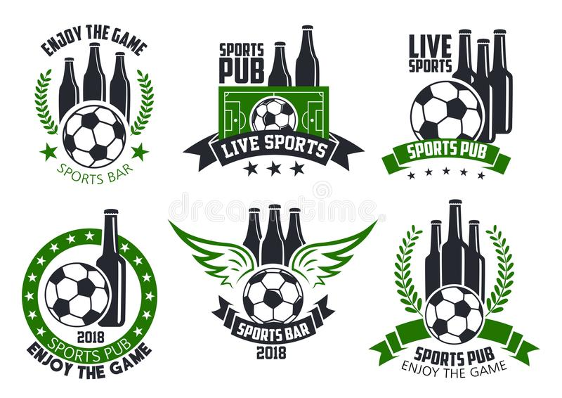 Soccer bar or football beer pub vector ball icons vector illustration