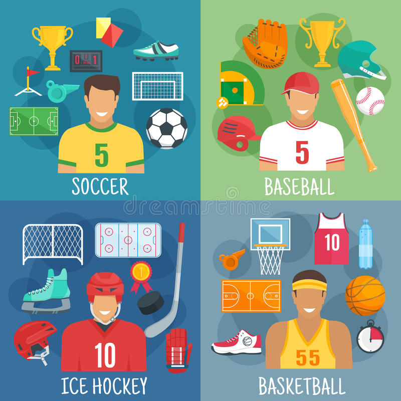 Soccer, baseball, hockey and basketball symbols royalty free illustration