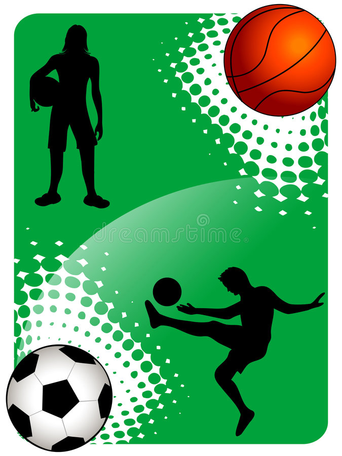 Download Soccer and basketball stock illustration. Illustration of halftone - 5453780