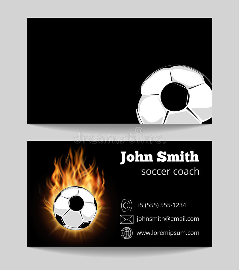 Soccer black business card template stock illustration