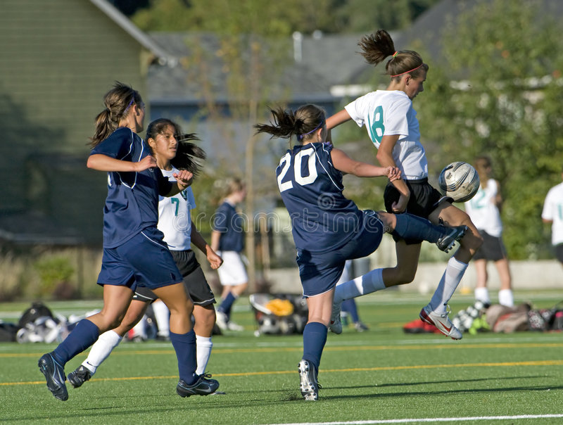 Download Soccer blocking the ball editorial stock image. Image of jump - 6346599